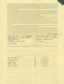HANK WILLIAMS JR. - DOCUMENT SIGNED 10/20/1976