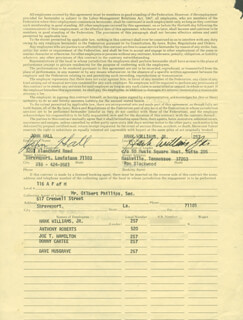 HANK WILLIAMS JR. - CONTRACT SIGNED 10/26/1976