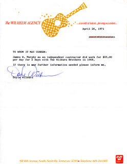 WILBURN BROTHERS (DOYLE WILBURN) - TYPED NOTE SIGNED 04/26/1971