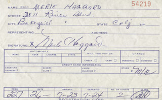 MERLE R. HAGGARD - DOCUMENT SIGNED