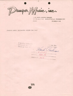 HANK COCHRAN - DOCUMENT SIGNED 04/17/1967