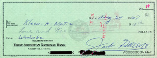 JACK GREENE - AUTOGRAPHED SIGNED CHECK 08/24/1967