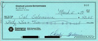 CHARLIE LOUVIN - AUTOGRAPHED SIGNED CHECK 03/05/1979