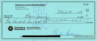 CHARLIE LOUVIN - AUTOGRAPHED SIGNED CHECK 03/19/1979