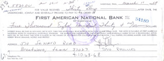 Autographs: STU PHILLIPS - PROMISSORY NOTE SIGNED 03/11/1968