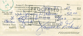 JIMMY LITTLE JIMMY DICKENS - AUTOGRAPHED SIGNED CHECK 03/31/1967
