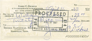 JIMMY LITTLE JIMMY DICKENS - AUTOGRAPHED SIGNED CHECK 04/11/1967