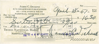 JIMMY LITTLE JIMMY DICKENS - AUTOGRAPHED SIGNED CHECK 04/18/1967