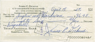 JIMMY LITTLE JIMMY DICKENS - AUTOGRAPHED SIGNED CHECK 04/17/1967