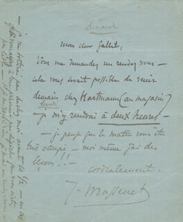 JULES MASSENET - AUTOGRAPH TELEGRAM SIGNED