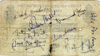 Autographs: VIVIEN LEIGH - CURRENCY SIGNED CO-SIGNED BY: STEWART GRANGER, BASIL RADFORD, ERIC PORTMAN, ANTHONY ASQUITH, STANLEY HOLLOWAY, SIR JOHN MILLS