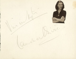 VIVIEN LEIGH - AUTOGRAPH CO-SIGNED BY: LAURENCE OLIVIER