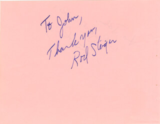 ROD STEIGER - AUTOGRAPH NOTE SIGNED CO-SIGNED BY: CLAIRE BLOOM