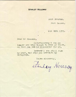 STANLEY HOLLOWAY - TYPED LETTER SIGNED 11/20/1979