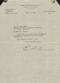 Autographs: EDGAR RICE BURROUGHS - TYPED LETTER SIGNED 07/11/1938