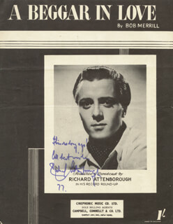 SIR RICHARD ATTENBOROUGH - SHEET MUSIC SIGNED 1977  - HFSID 67214