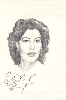 Autographs: AVA GARDNER - INSCRIBED ORIGINAL ART SIGNED 1981