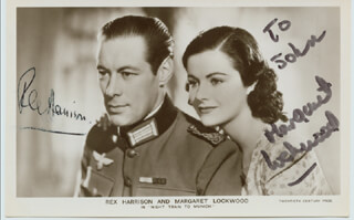 NIGHT TRAIN TO MUNICH MOVIE CAST - INSCRIBED PICTURE POSTCARD SIGNED CO-SIGNED BY: MARGARET LOCKWOOD, REX HARRISON