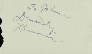 DOROTHY LAMOUR - INSCRIBED ALBUM LEAF SIGNED