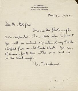 IRA GERSHWIN - AUTOGRAPH LETTER SIGNED 05/12/1942