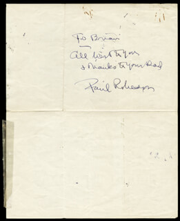 Autographs: PAUL L. ROBESON - AUTOGRAPH NOTE SIGNED