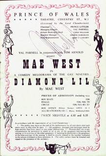 MAE WEST - PROGRAM SIGNED