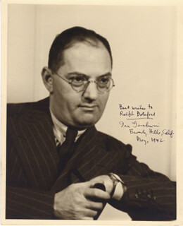 IRA GERSHWIN - AUTOGRAPHED INSCRIBED PHOTOGRAPH 5/1942