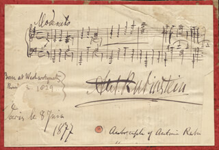 ANTON RUBINSTEIN - AUTOGRAPH MUSICAL QUOTATION SIGNED 07/08/1877