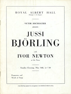 JUSSI BJORLING - PROGRAM PAGE SIGNED 5/30