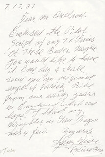 HARRY WIERE - AUTOGRAPH LETTER SIGNED 07/17/1987