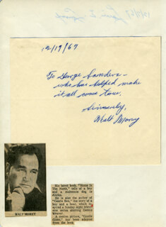 Autographs: WALT MOREY - AUTOGRAPH NOTE SIGNED 12/19/1967 CO-SIGNED BY: LOUIS E. LOMAX