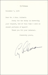 CY COLEMAN - TYPED LETTER SIGNED 12/07/1970