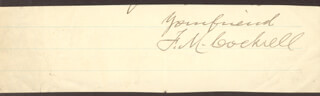 Autographs: BRIGADIER GENERAL FRANCIS M. COCKRELL - AUTOGRAPH SENTIMENT SIGNED
