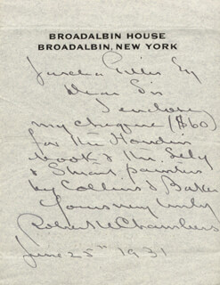 ROBERT W. CHAMBERS - AUTOGRAPH LETTER SIGNED 06/25/1931