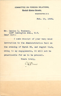GOVERNOR CUSHMAN K. DAVIS - TYPED LETTER SIGNED 02/10/1898