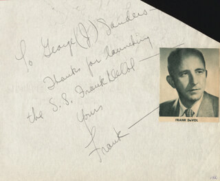 FRANK DE VOL - AUTOGRAPH NOTE SIGNED