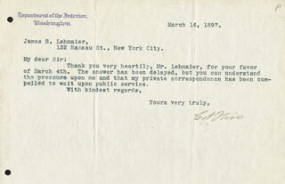 Autographs: CORNELIUS N. BLISS - TYPED LETTER SIGNED 03/16/1897