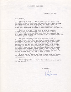 CLINTON WILDER - TYPED LETTER SIGNED 02/14/1967