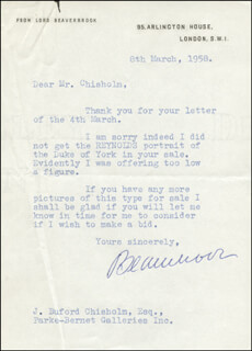 Autographs: MAX (1ST BARON BEAVERBROOK) AITKEN - TYPED LETTER SIGNED 03/08/1958