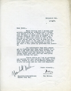 MARSHALL MICKEY NEILAN - TYPED LETTER SIGNED 01/14/1938