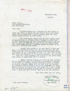 MARSHALL MICKEY NEILAN - TYPED LETTER SIGNED 04/02/1952