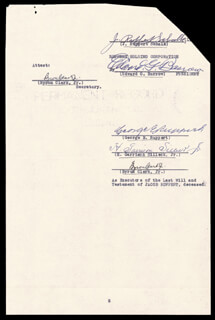 Autographs: EDWARD G. BARROW - DOCUMENT SIGNED 05/24/1939 CO-SIGNED BY: GEORGE E. RUPPERT