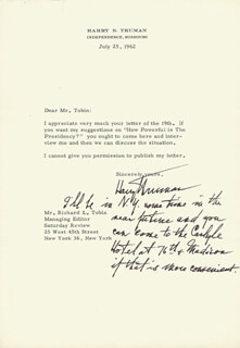 PRESIDENT HARRY S TRUMAN - TYPED LETTER SIGNED 07/25/1962