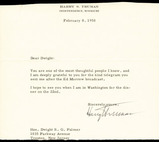 PRESIDENT HARRY S TRUMAN - TYPED LETTER SIGNED 02/08/1958
