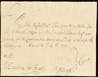 Autographs: CHIEF JUSTICE OLIVER ELLSWORTH - AUTOGRAPH DOCUMENT SIGNED 07/03/1776 CO-SIGNED BY: MAYOR THOMAS SEYMOUR, GILES RUSSELL