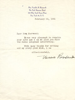 Autographs: FIRST LADY ELEANOR ROOSEVELT - TYPED LETTER SIGNED 02/23/1951
