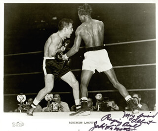 JAKE THE RAGING BULL LA MOTTA - INSCRIBED PRINTED PHOTOGRAPH SIGNED IN INK