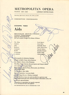 IRENE DALIS - PROGRAM SIGNED 01/20/1968 CO-SIGNED BY: SHERRILL MILNES, JAMES EUGENE McCRACKEN, GABRIELA TUCCI