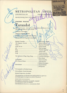 TURANDOT OPERA CAST - PROGRAM SIGNED 06/06/1970 CO-SIGNED BY: ELINOR ROSS, PILAR LORENGAR, FRANCO CORELLI, THEODOR UPPMAN, ROBERT SCHMORR, RAYMOND MICHALSKI