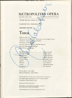 RENATA TEBALDI - PROGRAM SIGNED CIRCA 1970